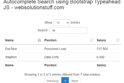 Autocomplete Search using Bootstrap Typeahead JS
