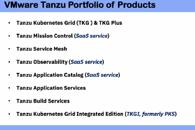 VMware Tanzu Portfolio of Products