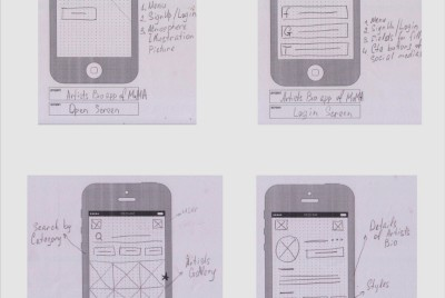 Low fidelity prototype based on hand-drawn wireframes