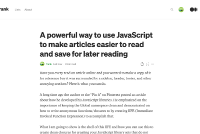 Develop a Powerful JavaScript Library to make articles easier to read and save for later reading
