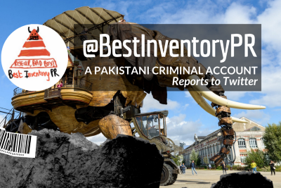 @BestInventoryPR, reports to Twitter about a Pakistani criminal account