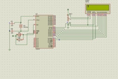 Code and Schematic Diagram for counting down numbers using LCD