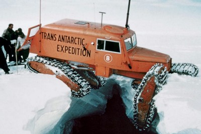 How do you find crevasses on Antarctic glaciers, using a satellite in space?