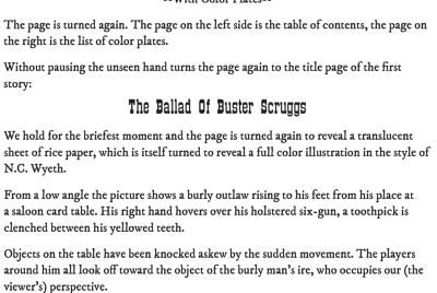 """Page One: """"The Ballad of Buster Scruggs"""" (2018)"""