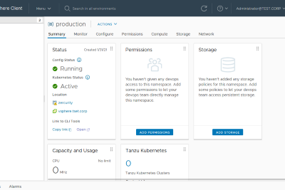 Creating namespaces and initial cluster configuration on vSphere 7 with Tanzu Kubernetes Grid…