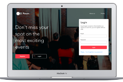 Forum. A web application to book events during a pandemic