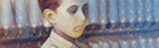 A closeup of the ghost boy's face. Cropped from the image that was earlier shown.