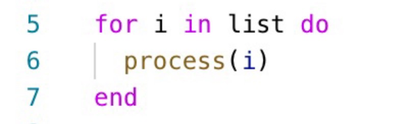 A for loop with poorly named variables and functions.