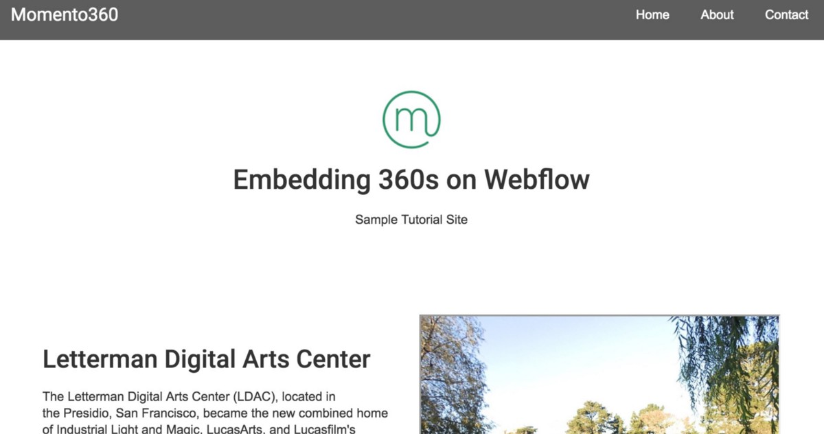 How to embed 360s in your Webflow project - The Momento360 Blog