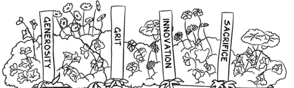 """A flower planter with signs labeled """"Generosity"""", """"Grit"""", """"Innovation"""", and """"Sacrifice""""."""