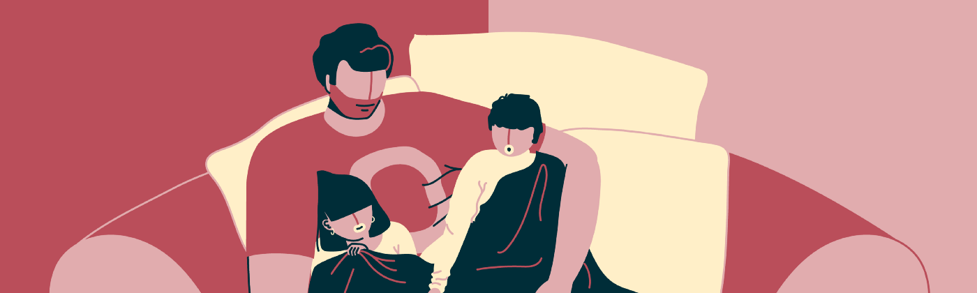 Digital art by Supriya Bhonsle of a dad reading to two young kids, snuggled on a couch with a blanket