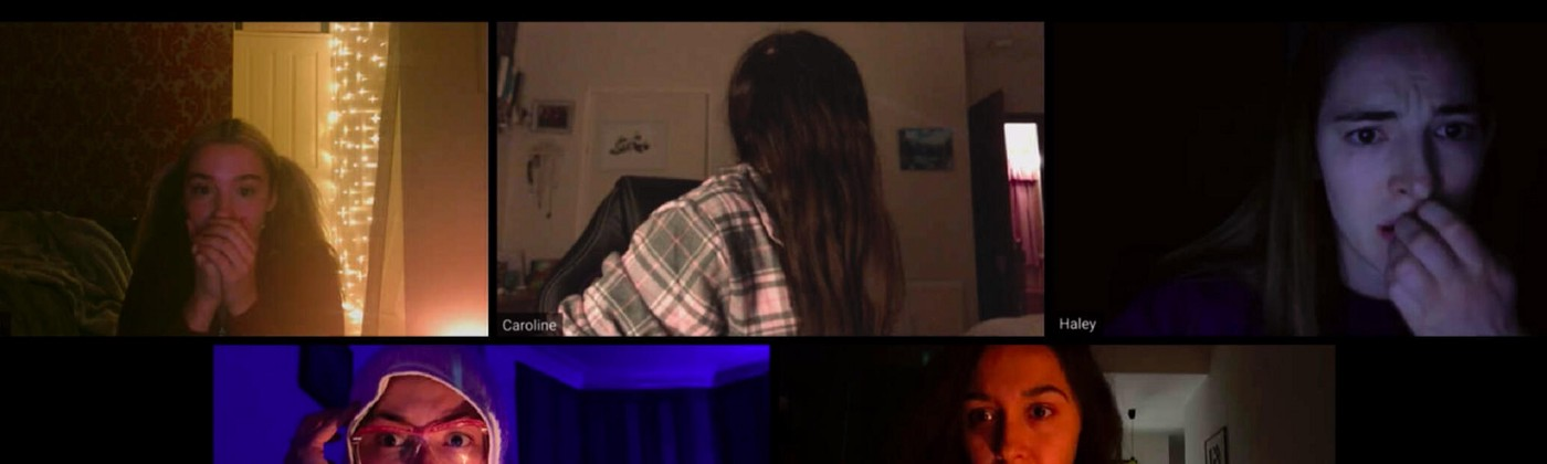 """A scene from the video conference call/pandemic-themed horror movie """"Host."""""""