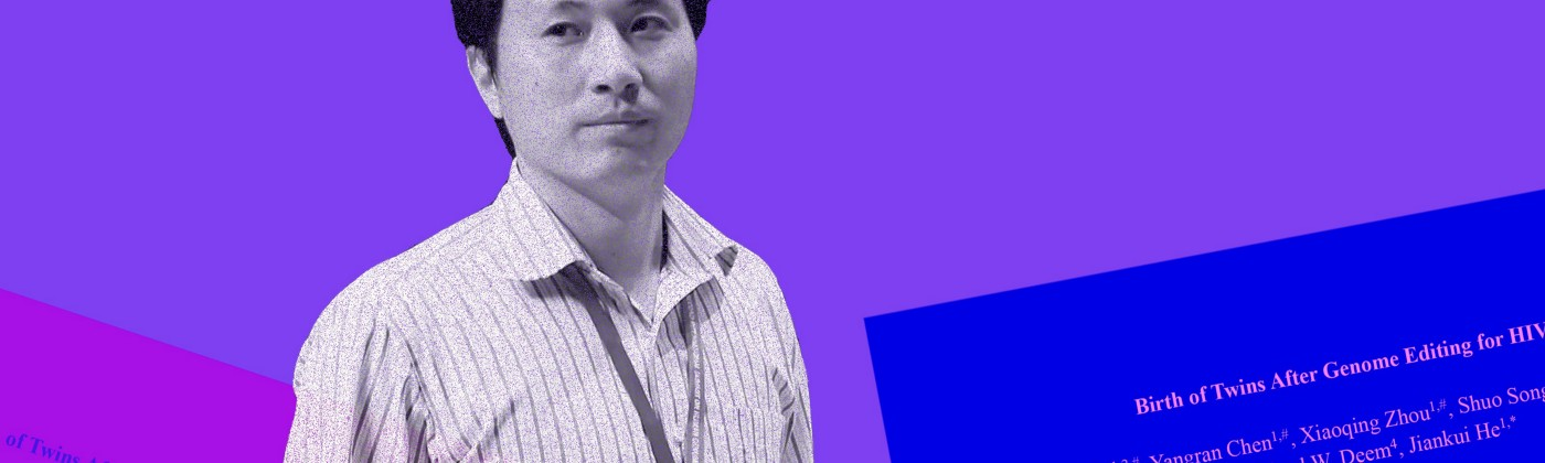 He Jiankui with pages from the paper superimposed on him.