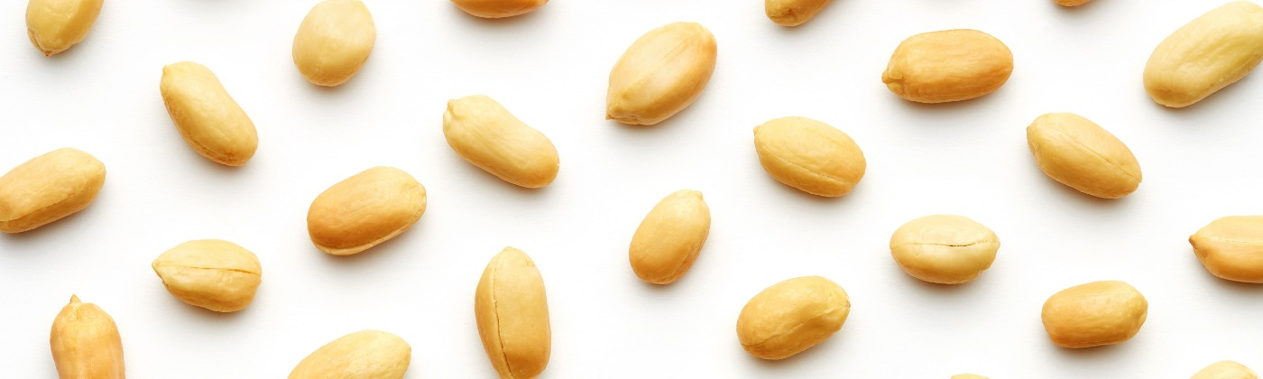 Peanuts arranged on a white background.