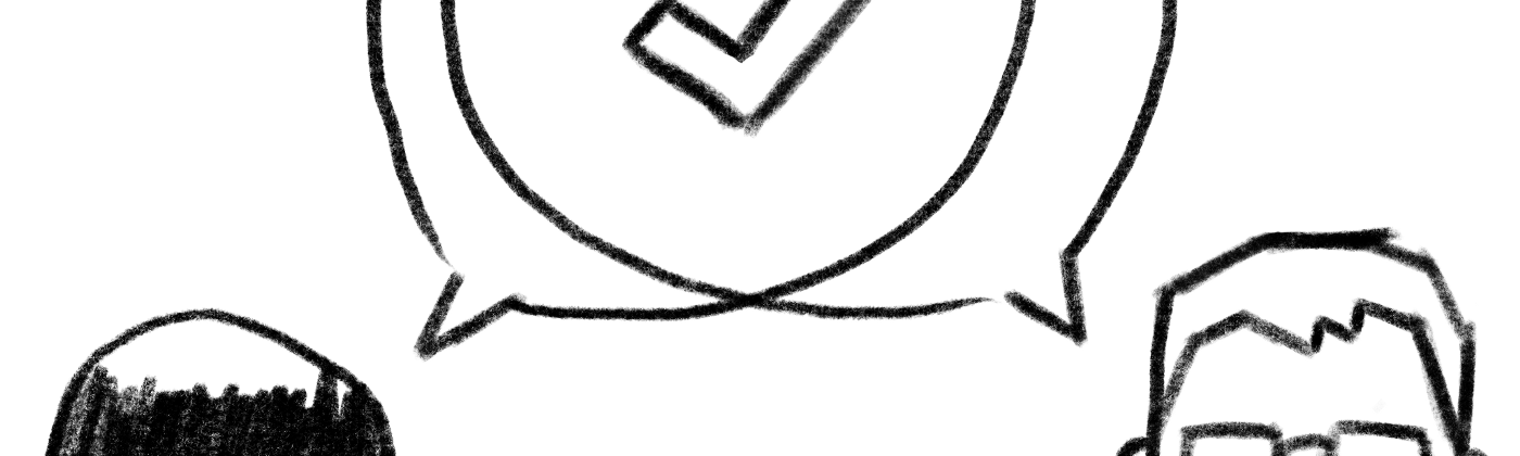 Drawing of the authors' heads, overlapping word bubbles, and a big check mark in the middle.
