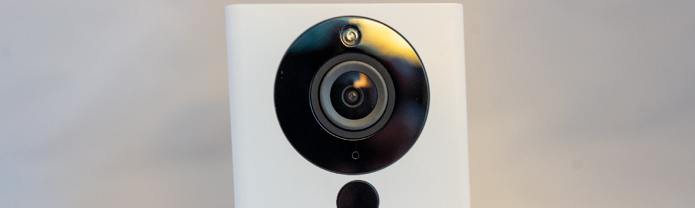 A close-up of the personal surveillance camera from smart camera company Wyze.