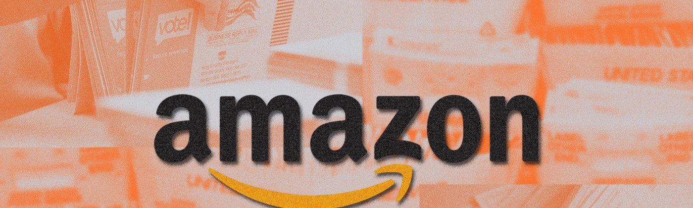 Amazon logo juxtaposed over a collage of images with letters and mail-in ballots at the USPS.