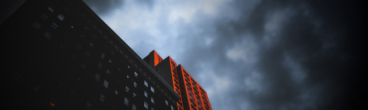 Ominous looking sky over buildings on the Upper East Side of Manhattan.