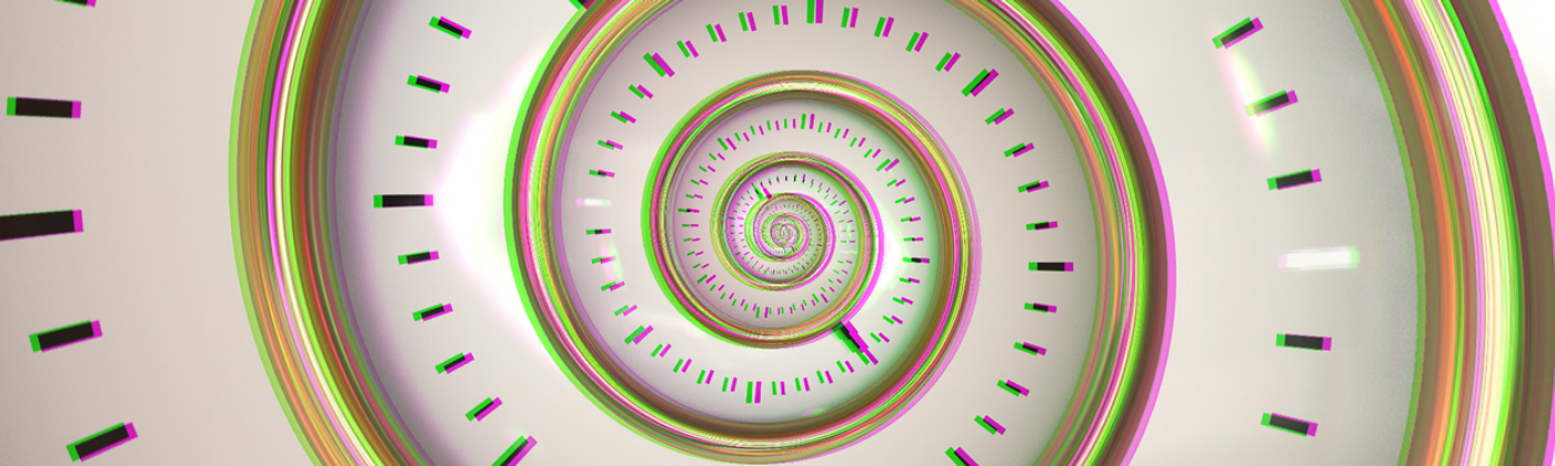 An optical illusion of a clock that's made of a swirl + colored with slightly overlapping neon green, yellow, + orange lines