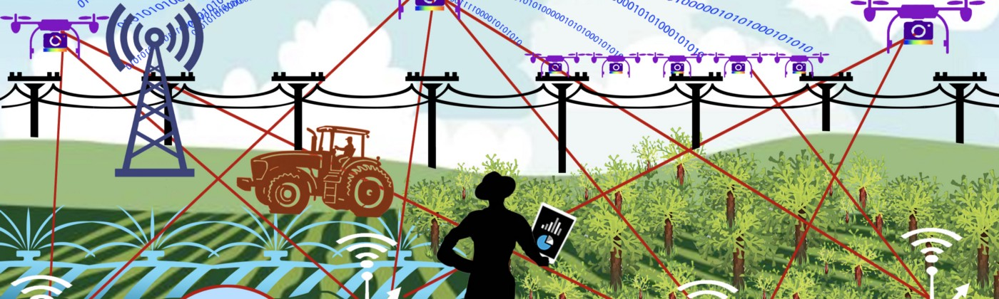 An illustration depicting a complex network between soil sensors, flying robots, the internet and a farmer.