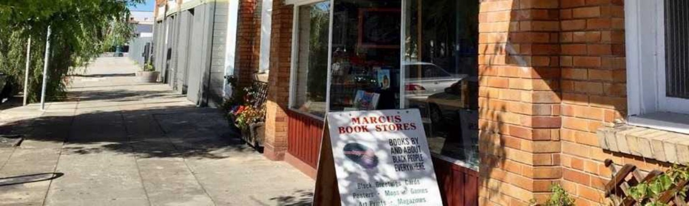 A photo of the outside of Marcus Books in Oakland, California.