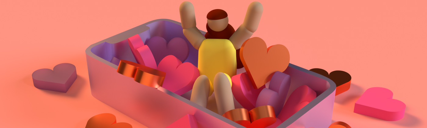 CGI of a small humanoid figure sitting in a large box overflowing with love hearts.
