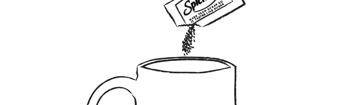 An illustration of a packet of Splenda being poured into a mug with an image of the Democratic donkey.