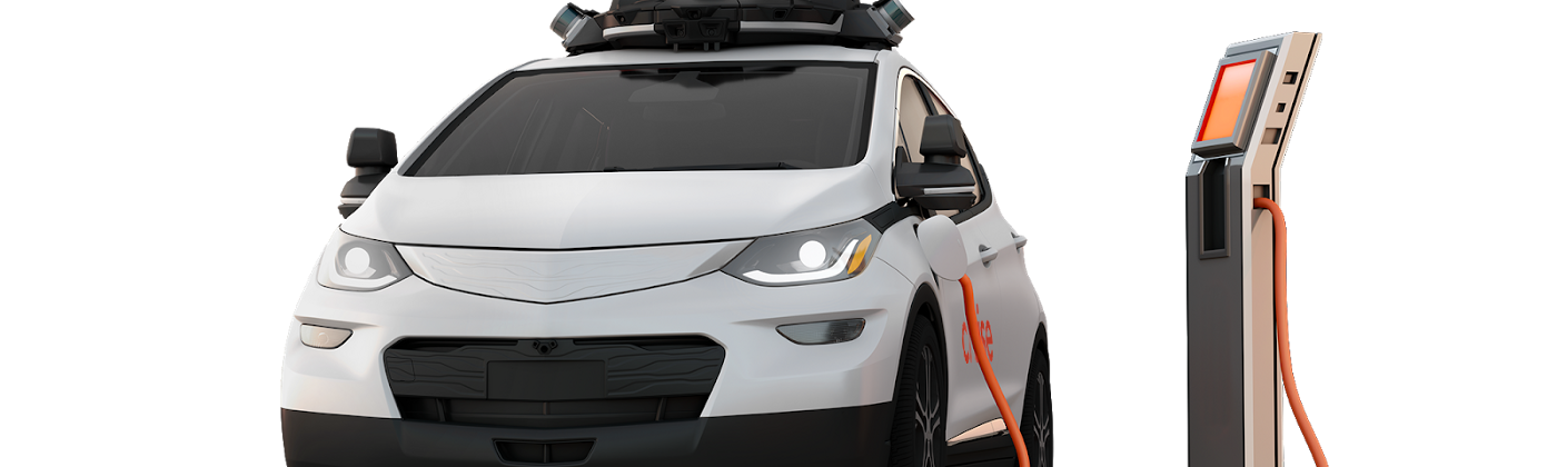 A Cruise all-electric, self-driving car is being charged by an EV charger.