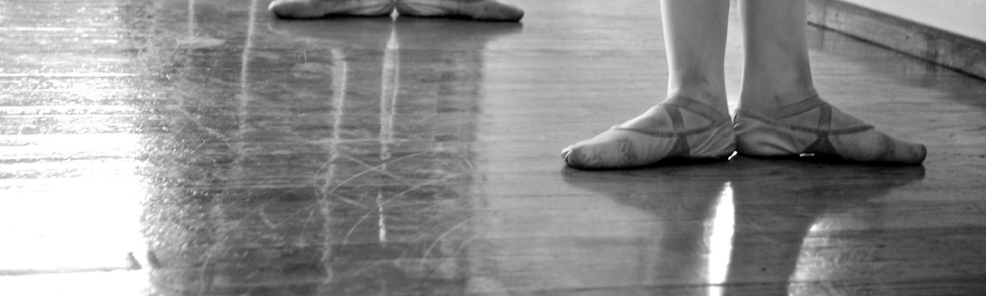 Ballet Feet at the Barre in Monochrome