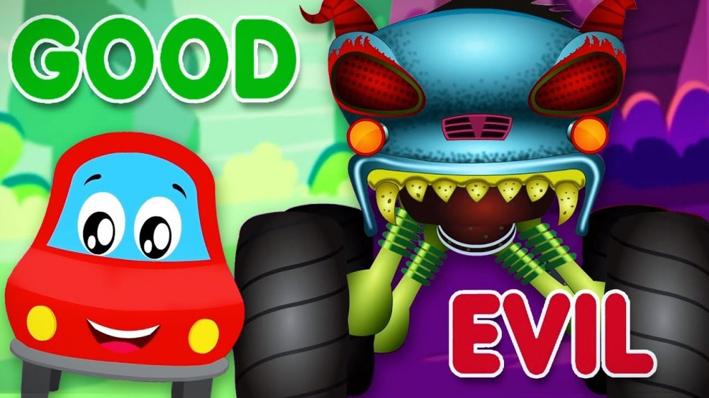 Little Red Car >> Good Vs Evil Little Red Car Cartoons For Babies