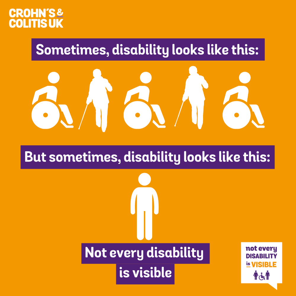 """A poster released by """"Chron's and Colitis UK"""" advocating for awareness of disability. On the top it has typical appearances like wheelchair usage and stick usage captioned with """"Sometimes disability looks like this…"""", but on the bottom it just has a lone silhouette of a person without any visible aids and a caption that reads """"But sometimes disability looks like this"""", and a footnote reading, """"not every disability is visible""""."""