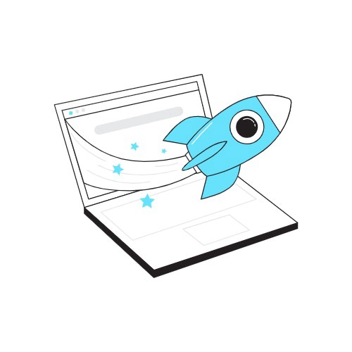A laptop illustration with a small rocket brusting from its screen.