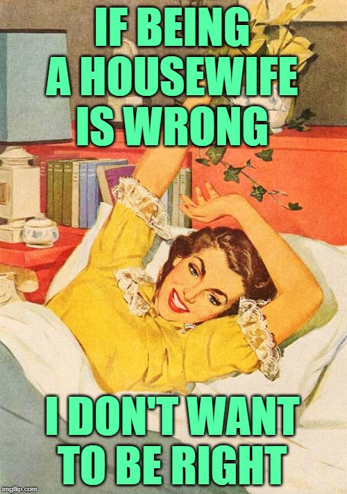 """Meme with a woman stretching in bed that says """"If being a housewife is wrong, I don't want to be right"""""""