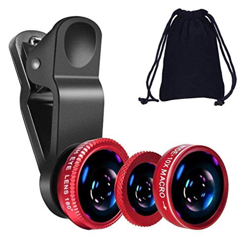 GO SHOPS 3in1 Mobile Camera Photo Lens; Fisheye Lens; Wide Angle; Macro Lens with Clip Holder for All Smartphones (Multicolor)