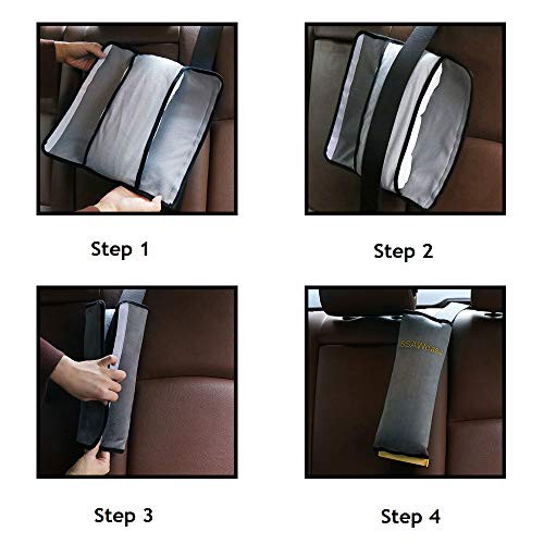 Seat Belt Adjuster and Pillow with Clip for Kids Travel