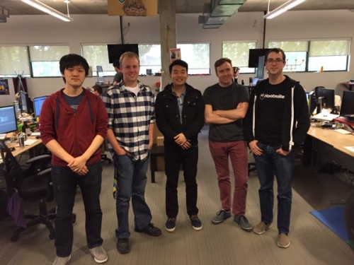 From left to right, Adrian Zhu, Jason Dippel, Paul Kim, Jon Jeffery, Mackenzie Marshall. Jason and Paul are currently co-ops on the Dashboard team, where Jon, Adrian, and Mackenzie are former co-ops now working full-time.