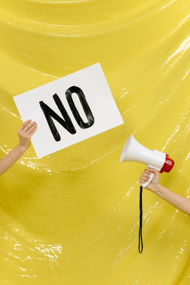 An emphatic NO on a sign and from a bullhorn is the answer to three pitch emails I received.
