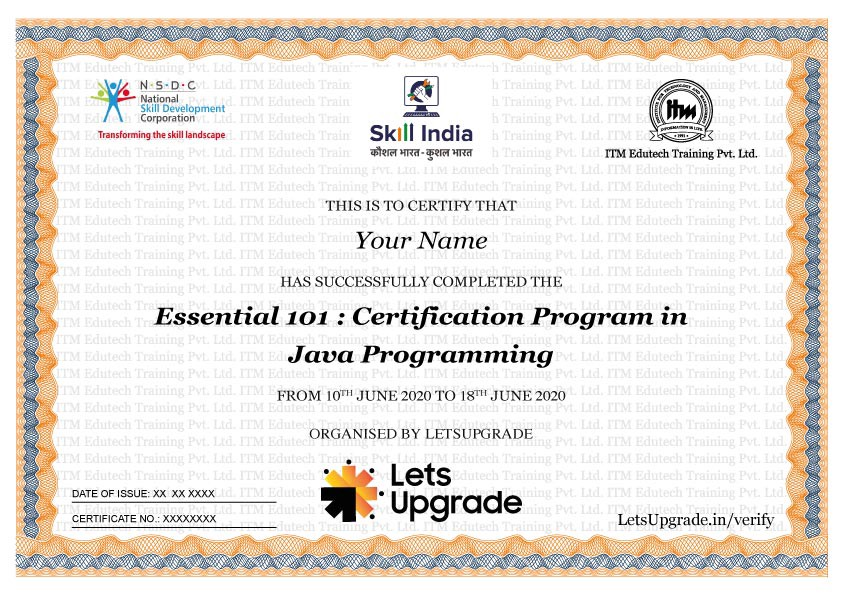 The LetsUpgrade Certificate, in association with NSDC and ITM Group of Companies.