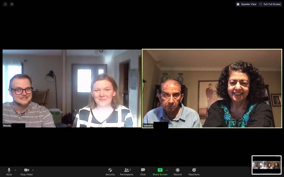 Sabeeha and Khalid, who live in NYC, joined a virtual meal with Mandy and Kelly, Lutheran (ELCA) pastors in rural Minnesota.