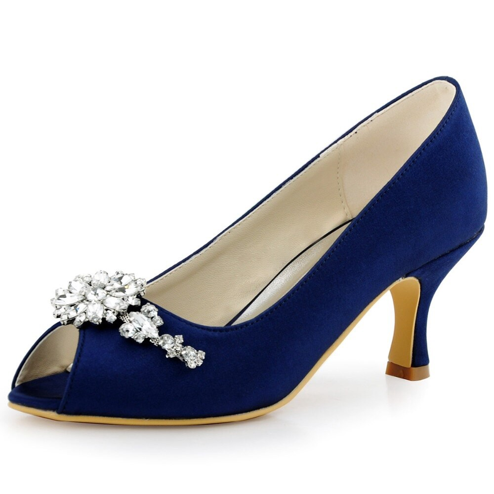 Women Evening Party Pumps Peep Toe Crystal Satin Bride Bridesmaid