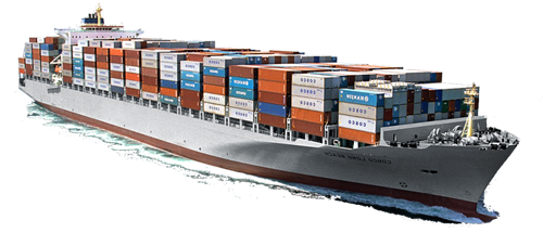 Large container ship carrying many shipping containers