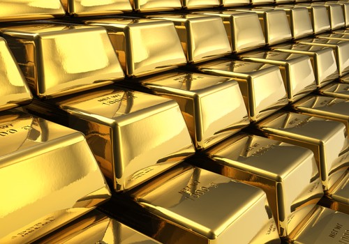 Macro view of the rows of gold bars