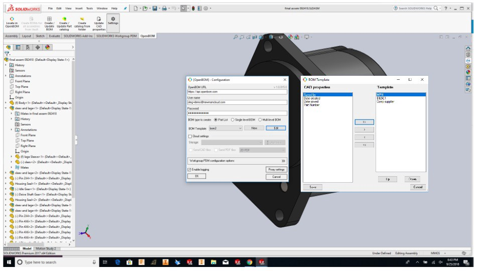 Solidworks BOM (Bill of Materials) Template Manager for OpenBOM plug-in