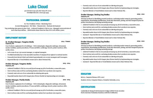 The Best Resume Template Based On My 15 Years Experience Sharing Resume Advice By Marc Cenedella Mission Org Medium