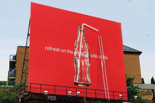 Refresh on the Coca Cola side of life Billboard Advertisement