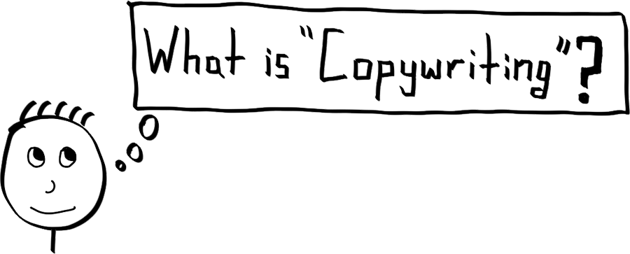 Illustrative graphic asking what the subject copywriting is about Let's talk copywriting (Credit: Kopywritingkourse.com)