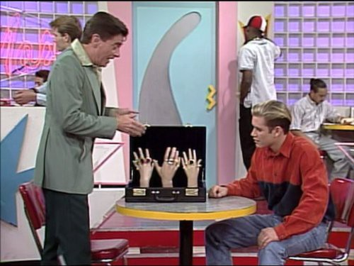 Zach Morris and slimy salesman in Saved By The Bell