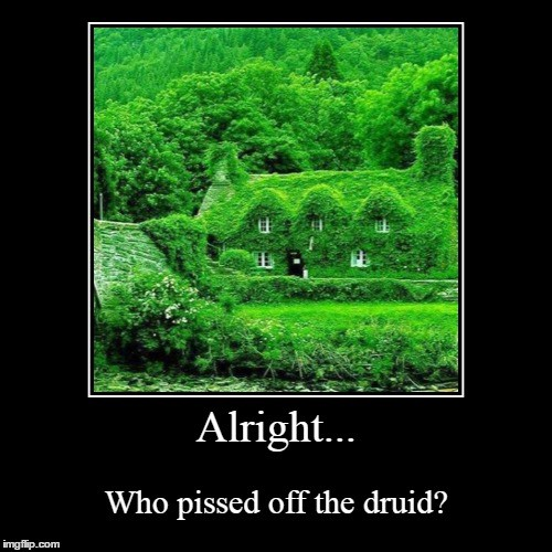 """A meme of leaves covering the entirity of a house and barn that says """"Alright. Who pissed off the druids?"""