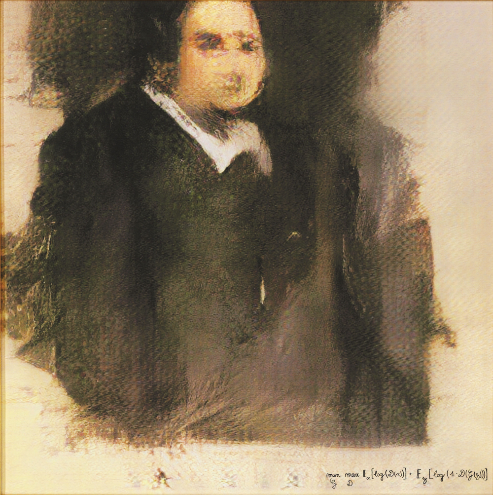 Portrait of Edmond Bellamy, a painting generated by a generative adversarial network and auctioned at Christie's.