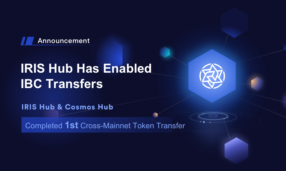IRISnet Has Enabled IBC Transfers & Completed the 1st Cross-Mainnet Token Transfer with Cosmos Hub